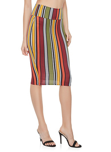 Striped Soft Knit Pencil Skirt,WINE,large