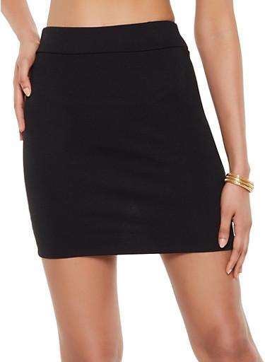 Mini Ponte Skirt,BLACK,large