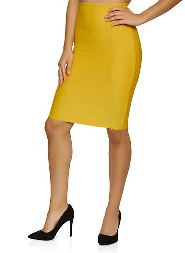 Bandage Midi Pencil Skirt,GOLD,large