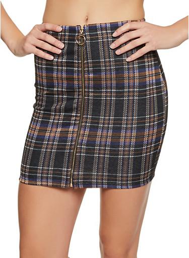 Zip Front Plaid Skirt,MAUVE,large