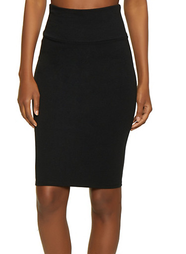 High Waisted Ponte Pencil Skirt,BLACK,large