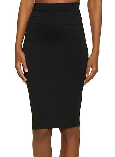 Solid Midi Ponte Pencil Skirt,BLACK,large