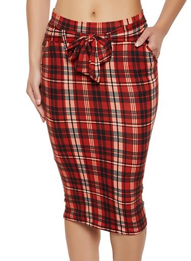 Soft Knit Plaid Pencil Skirt,RUST,large