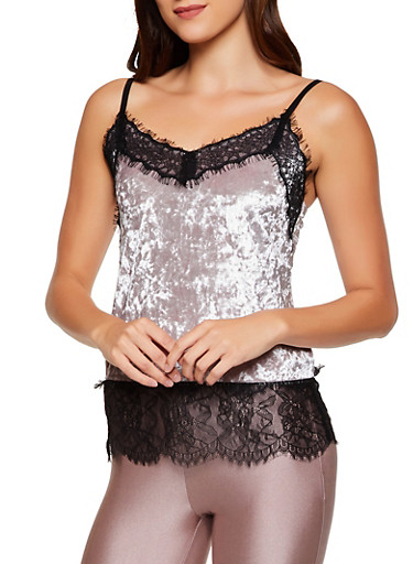 Crushed Velvet Lace Trim Cami,LAVENDER,large