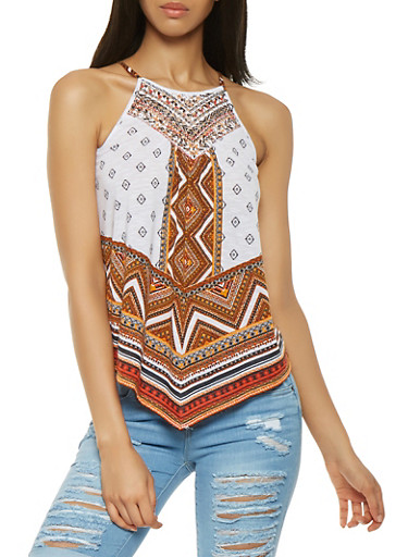 Printed Lace Trim Tank Top,WHITE,large