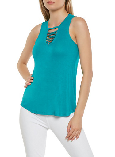 Lace Up Detail Tank Top,GREEN,large