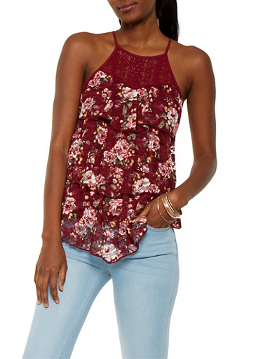 Tiered Lace Tank Top,BURGUNDY,large
