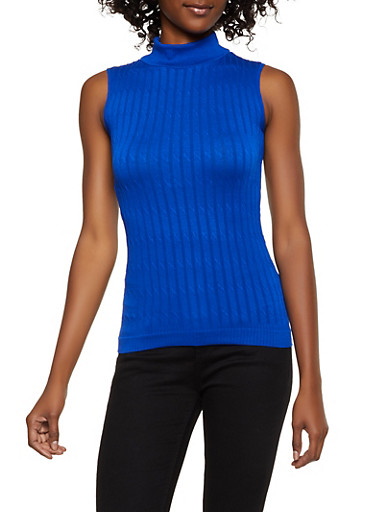 Mock Neck Ribbed Sleeveless Top,RYL BLUE,large