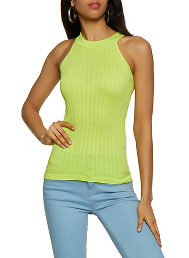 Sleeveless Cable Knit Top,GREEN,large