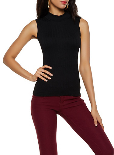 Sleeveless Cable Knit Mock Neck Top,BLACK,large
