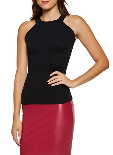 Sleeveless Ribbed Knit Top,BLACK,large