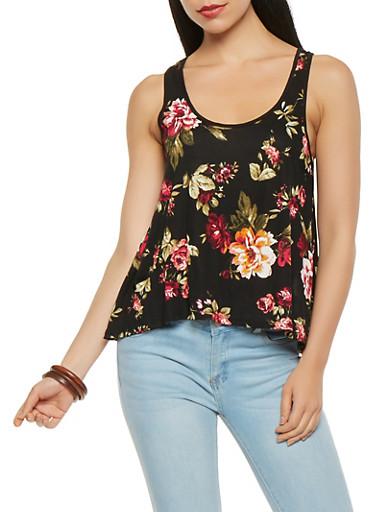 Floral Split Back Tank Top,BLACK,large
