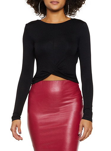 Long Sleeve Twist Front Top,BLACK,large