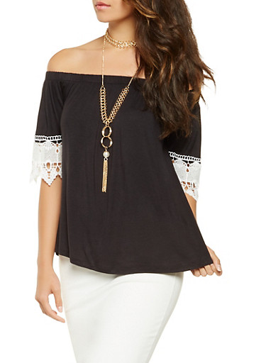 Crochet Trim Off the Shoulder Top with Necklace,BLACK,large