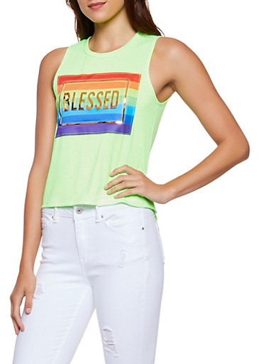 Blessed 3D Foil Graphic Tank Top,NEON LIME,large