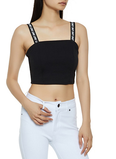Love Graphic Strap Crop Top,BLACK,large