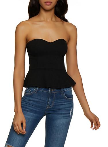 Crepe Knit Peplum Top,BLACK,large