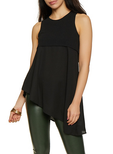 Crepe Knit Open Back Asymmetrical Top,BLACK,large