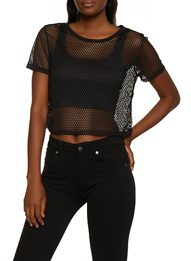 Fishnet Tee,BLACK,large