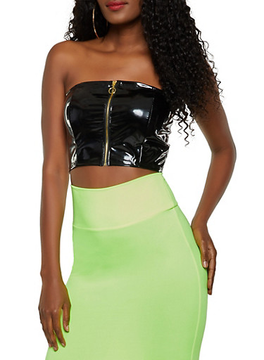 Faux Patent Leather Zip Tube Top,BLACK,large