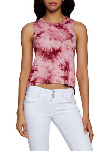 High Low Tie Dye Tank Top,WINE,large