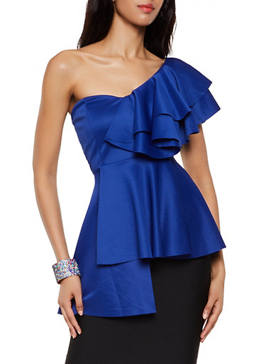One Shoulder Ruffle Top,RYL BLUE,large