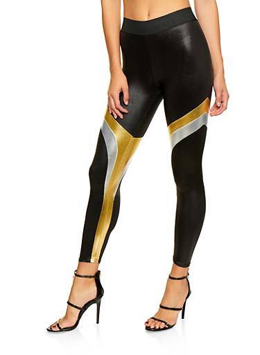 Metallic Color Block Leggings,BLACK,large