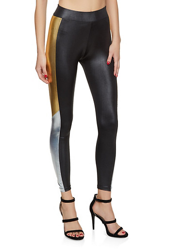 Metallic Side Color Block Leggings,BLACK,large