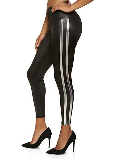 Varsity Stripe Faux Leather Leggings,SILVER,large