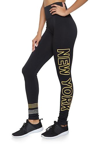 New York Graphic Leggings,BLACK,large