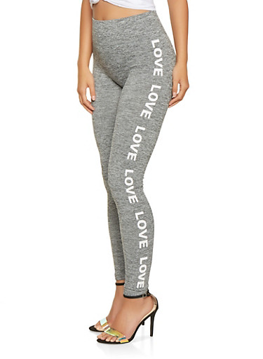 Love Graphic Marled Leggings,GRAY,large