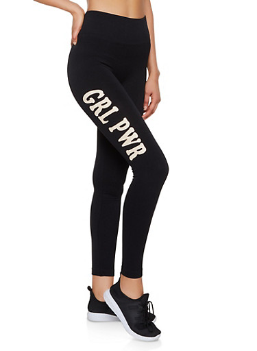 Grl Pwr Graphic Leggings,BLACK,large