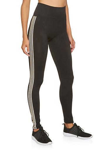 Marled Varsity Stripe Leggings,BLACK,large