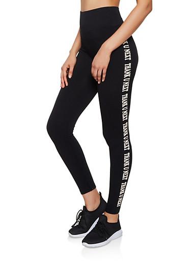 Thank U Next Graphic Pintuck Leggings,BLACK,large