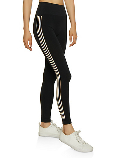 Side Stripe Leggings,BLACK,large