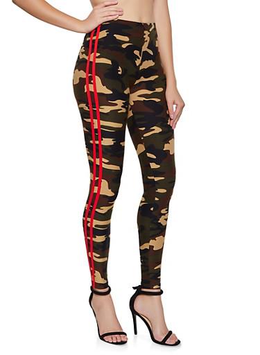 Camo Red Varsity Stripe Leggings,OLIVE,large