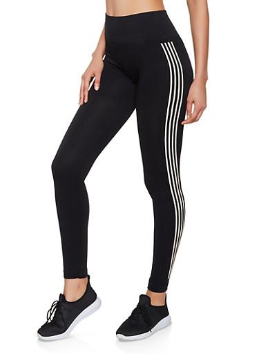 Four Stripe Leggings,BLACK,large