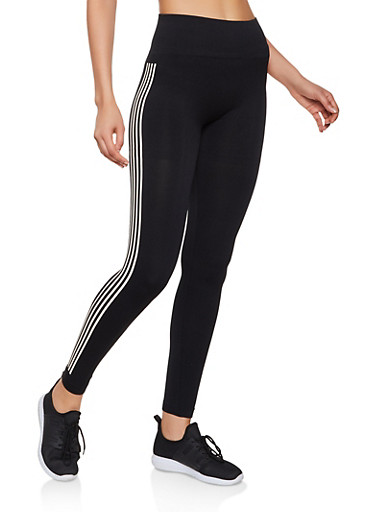 Striped Side Leggings,BLACK,large