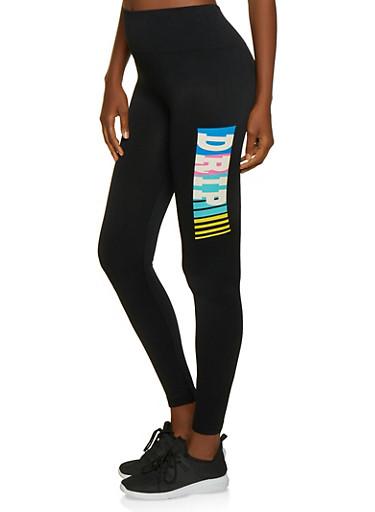 Drip Graphic Leggings,BLACK,large