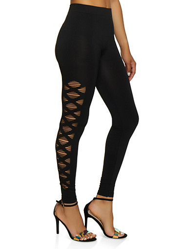 Laser Cut Side Leggings | 3066062901004,BLACK,large