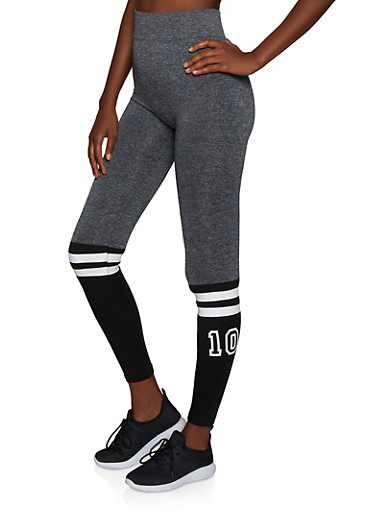 Color Block 10 Graphic Leggings,HEATHER,large
