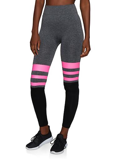 Color Block Striped Detail Leggings,NEON PINK,large