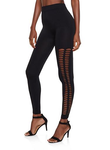 Slashed Side Leggings,BLACK,large