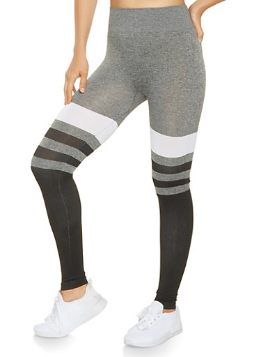 Color Block Leggings,HEATHER,large