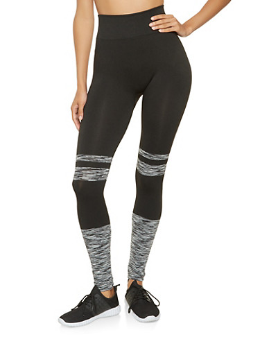 Marled Color Block Leggings,BLACK/WHITE,large