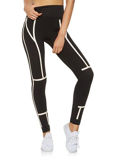 Printed Leggings,BLACK,large
