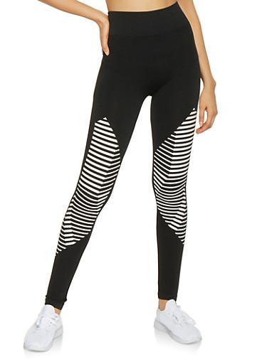 Striped Detail Leggings,BLACK/WHITE,large