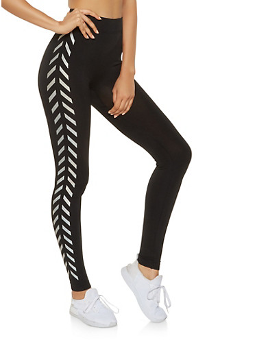 Foil Graphic Trim Seamless Leggings,BLACK,large