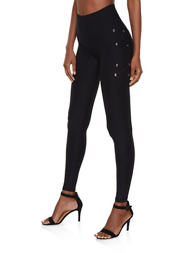 Lace Up Detail Leggings,BLACK,large