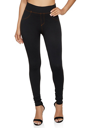 Denim Knit Leggings | 3066062909050,BLACK,large